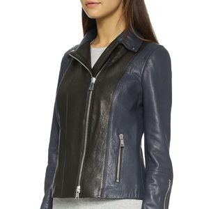 VINCE black and navy leather moto jacket
